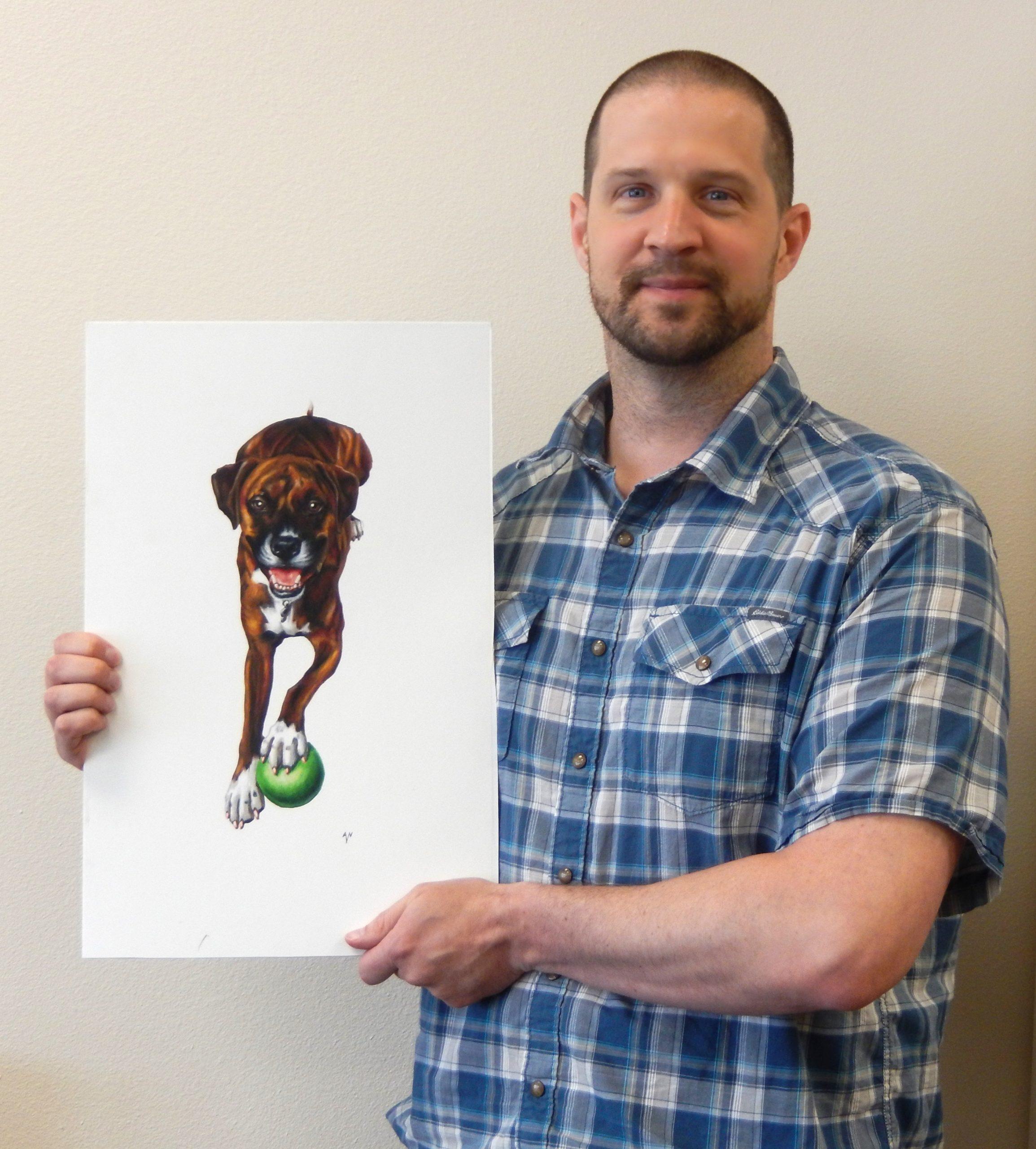 Custom Dog Illustration created in Colored Pencils